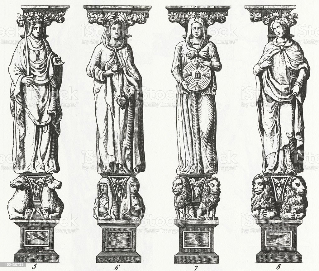 Caryatides of St. Peter Engraving vector art illustration
