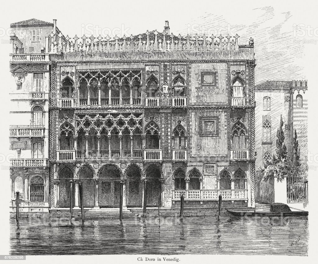 Casa d' Oro in Venice, Italy, wood engraving, published 1884 vector art illustration