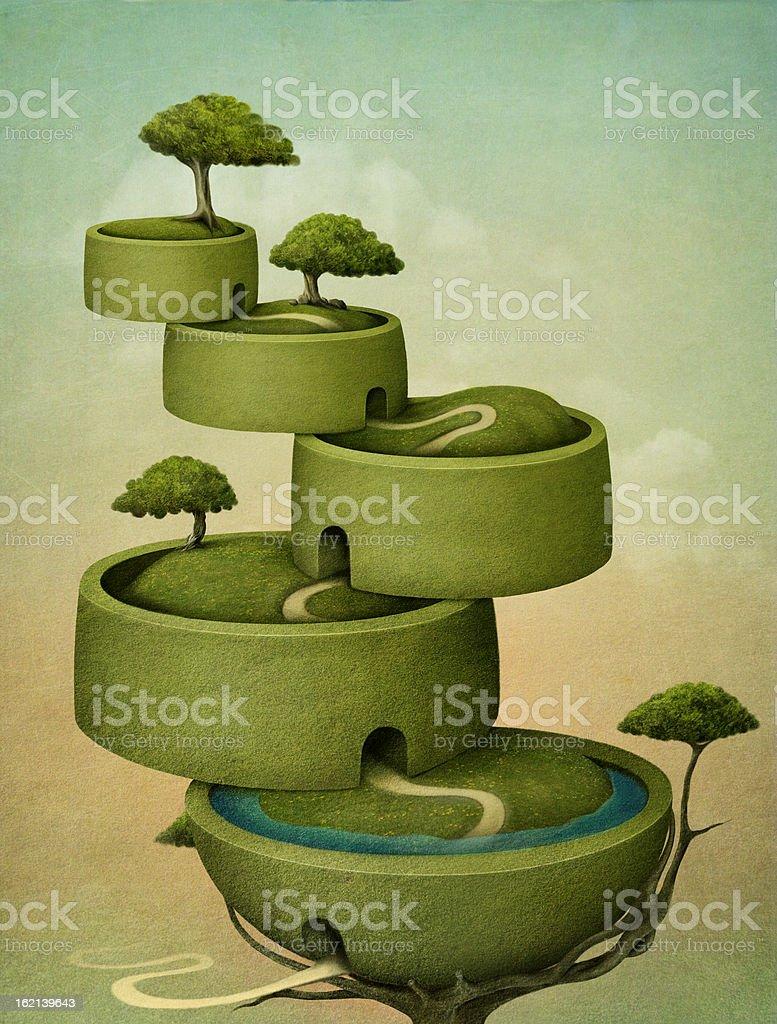Cascade Tree. vector art illustration