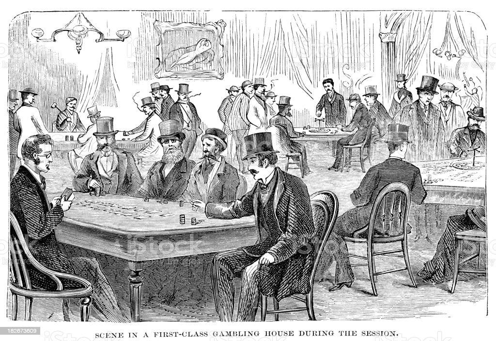 casino in Washington DC 1873 engraving vector art illustration