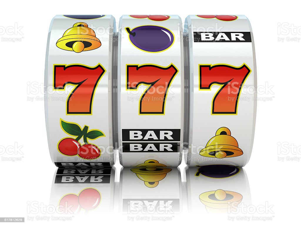 Casino. Slot machine with jackpot. vector art illustration