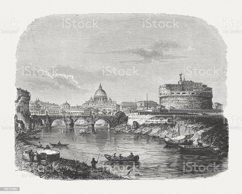 Castel Sant'Angelo and Aelian Bridge in Rome, published 1878 vector art illustration