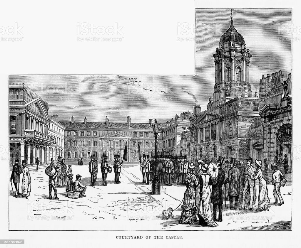 Castle Courtyard, Dublin, Ireland Victorian Engraving, Circa 1840 vector art illustration