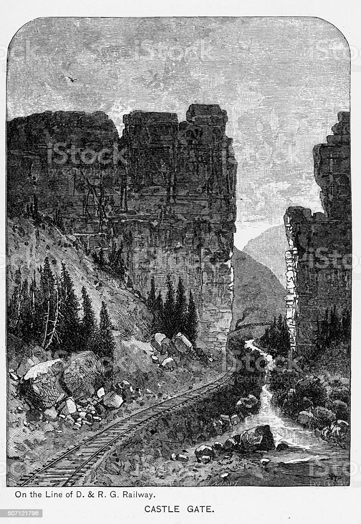 Castle Gate in the Price River Canyon Victorian Engraving stock photo