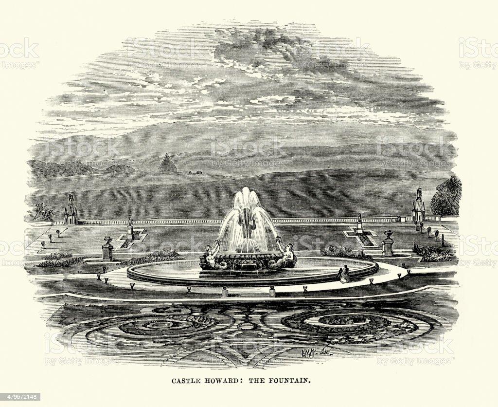 Castle Howard the Fountain vector art illustration
