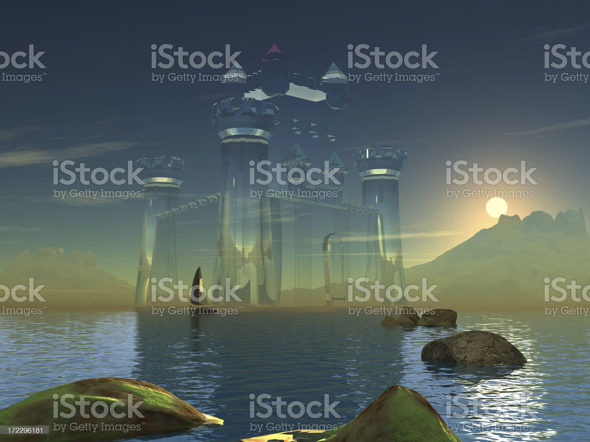 Castle in the air, sunset royalty-free stock vector art