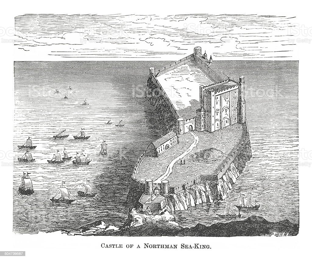 Castle of a Northman Sea King (antique engraving) vector art illustration