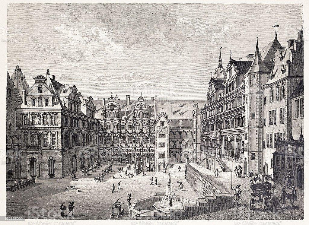 Castle of Heidelberg in 1683 royalty-free stock vector art