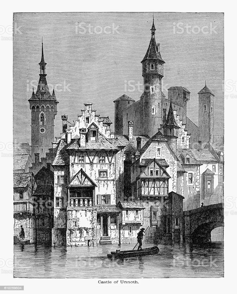 Castle of Munot in Schaffhausen, Switzerland Circa 1887 vector art illustration