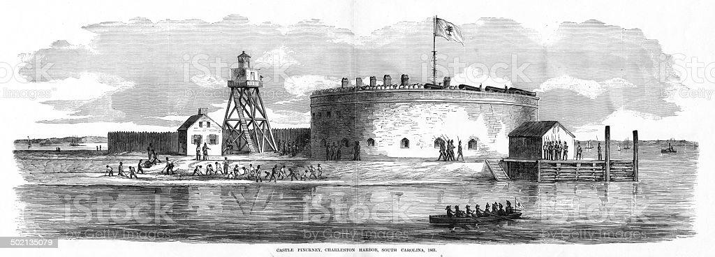 Castle Pinckney, Charleston, SC vector art illustration