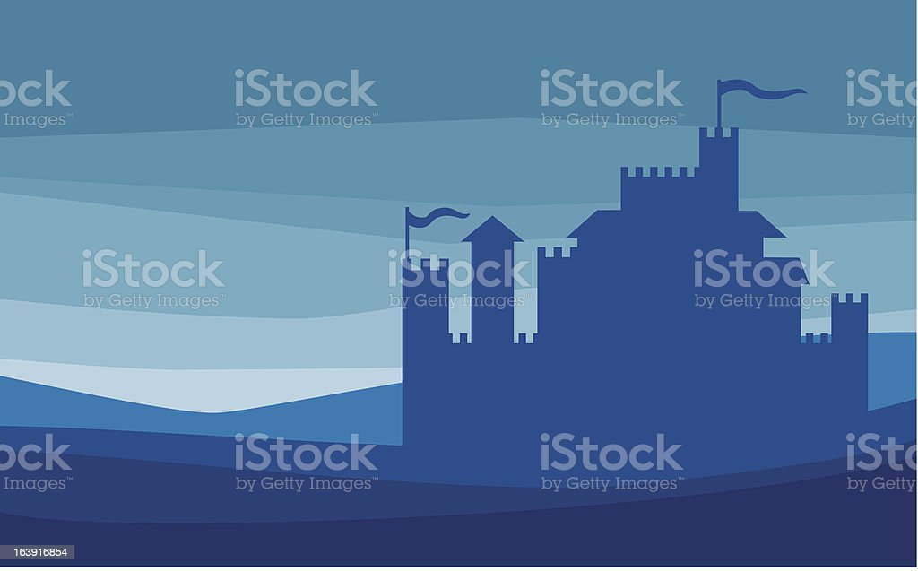 Castle silhouette - old fortress vector art illustration