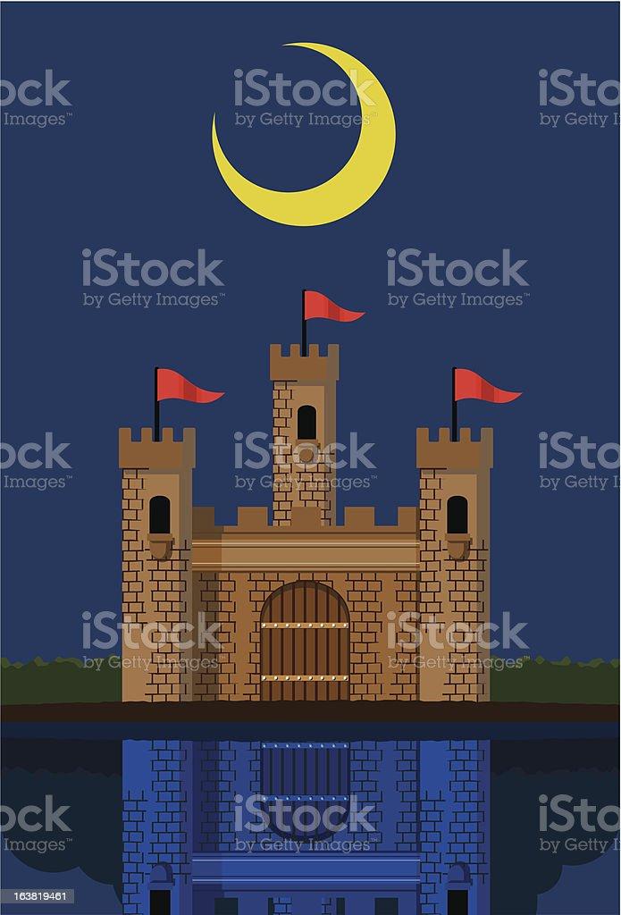Castle under new moon royalty-free stock vector art