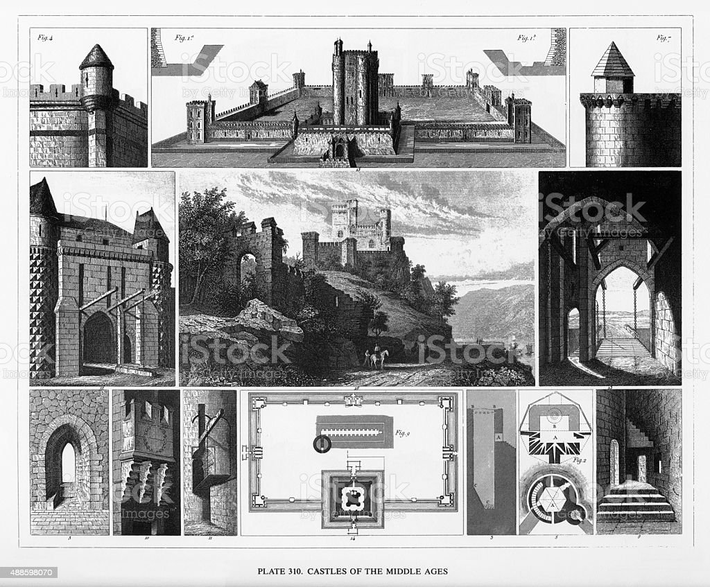 Castles of the Middle Ages Engraving vector art illustration