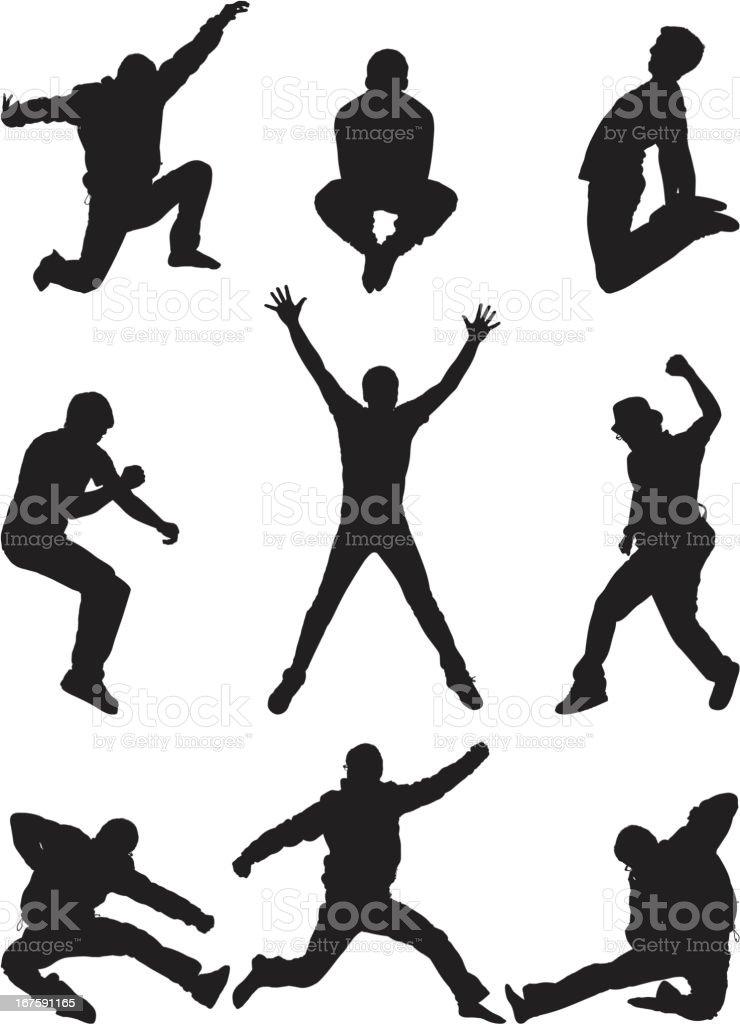 Casual men posing mid air jumping vector art illustration