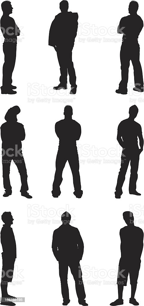 Casual men silhouettes standing full length royalty-free stock vector art