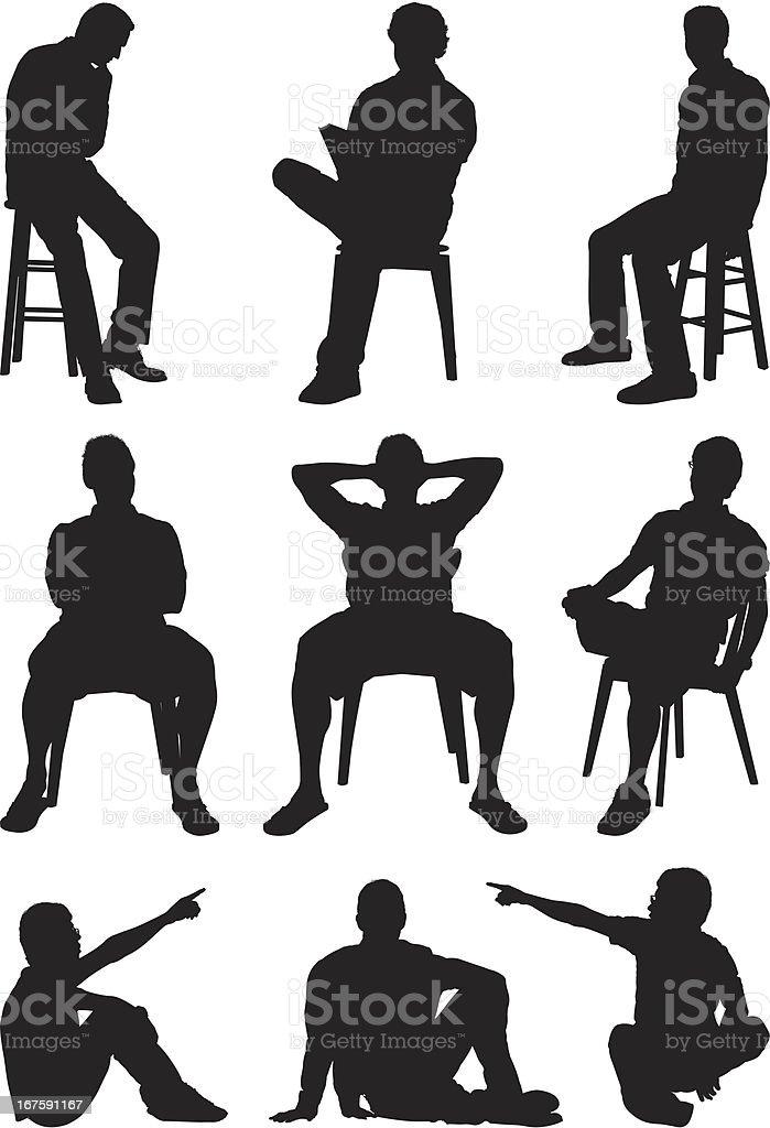 Casual men sitting silhouettes vector art illustration