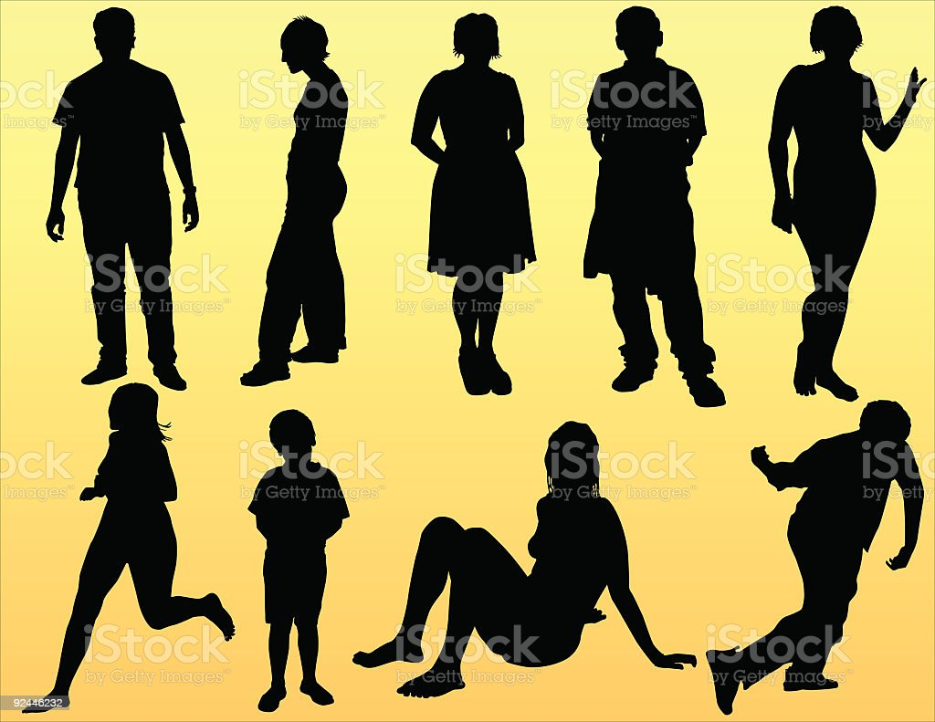 Casual People Poses (Vector) royalty-free stock vector art