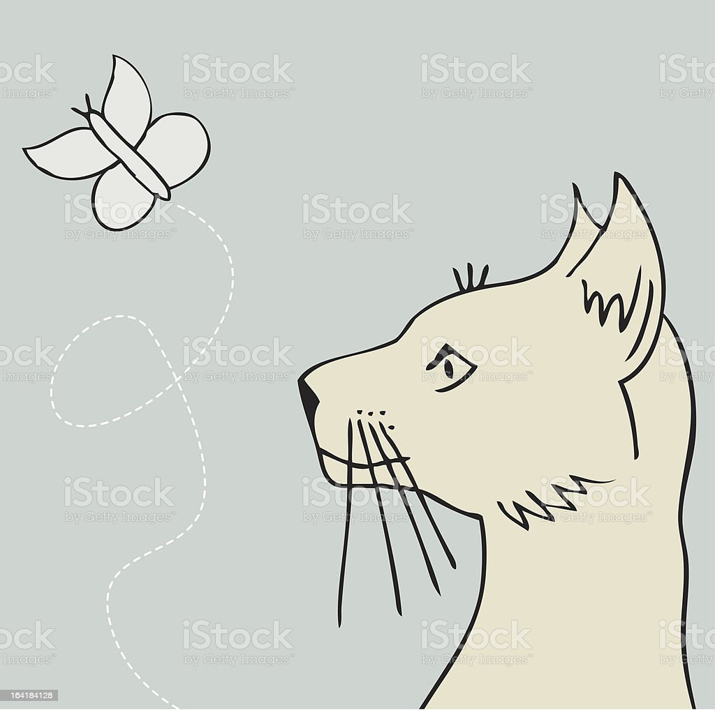 Cat and Butterfly royalty-free stock vector art