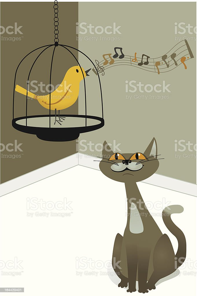 Cat and Canary vector art illustration