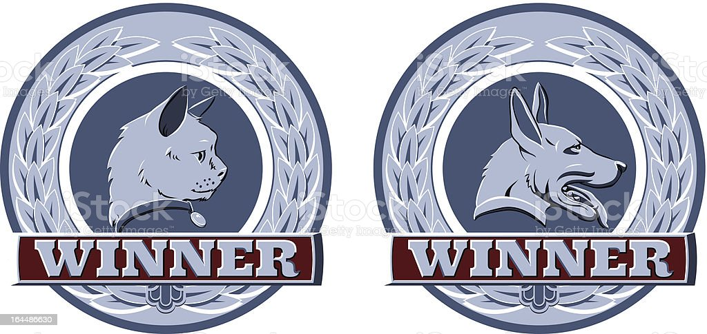 Cat and dog pet awards royalty-free stock vector art