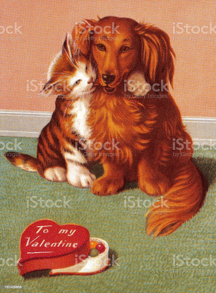 Cat and Dog Valentine vector art illustration