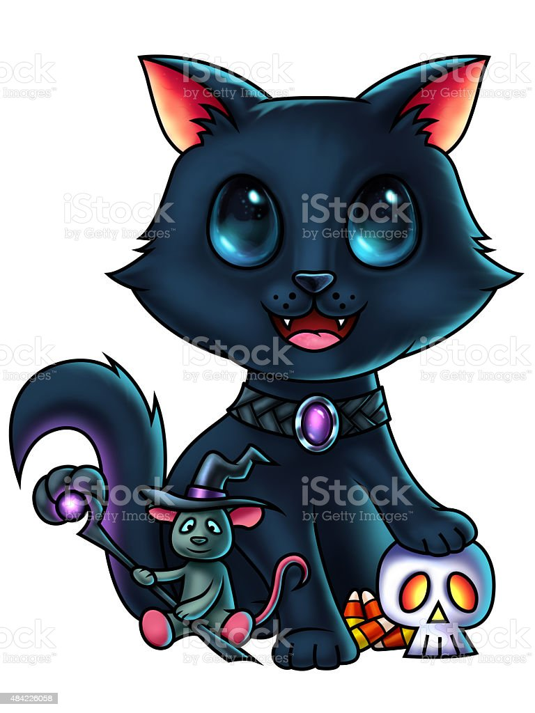 Cat and Mouse Halloween Characters vector art illustration