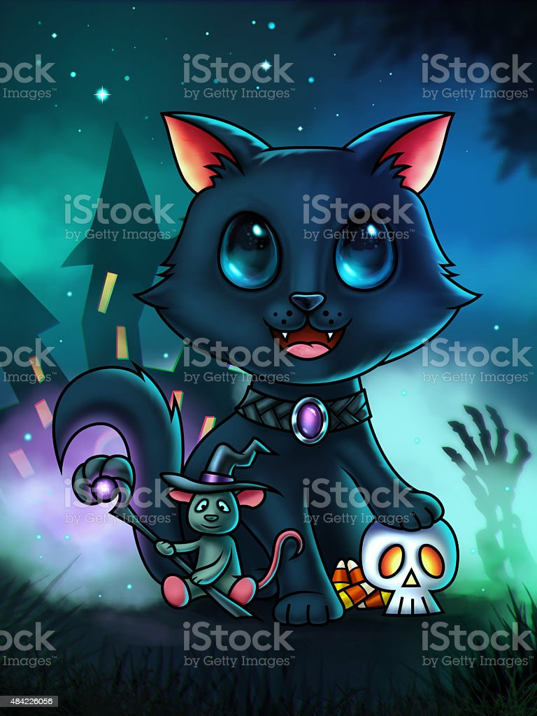 Cat and Mouse Halloween Illustration vector art illustration