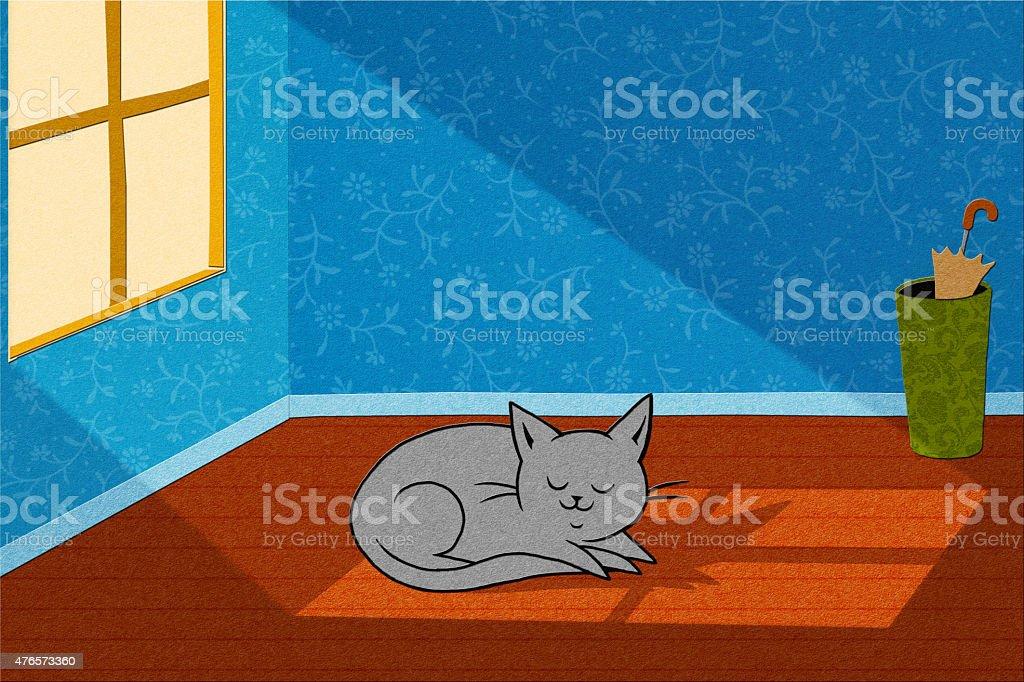 Cat In A Sunbeam vector art illustration