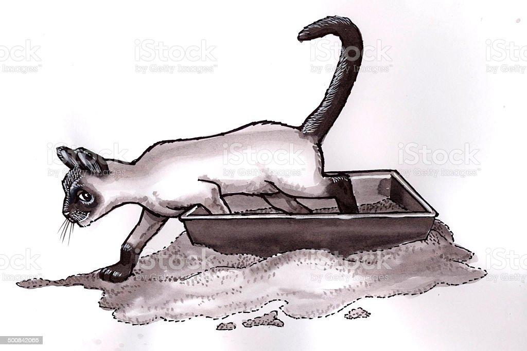 Katze in Katzentoilette (Comic Lizenzfreies vektor illustration
