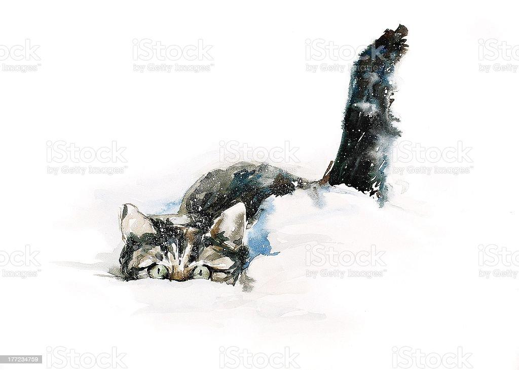Résultats de recherche d'images pour «cat snow illustration»