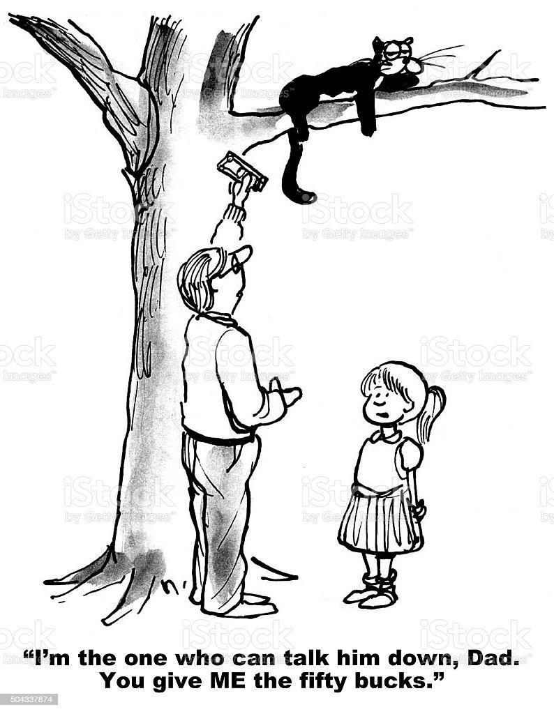 Cat is Stuck in Tree vector art illustration