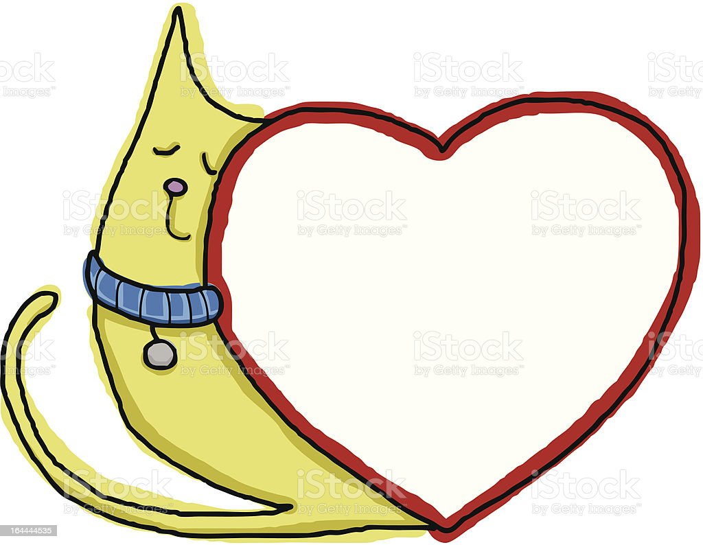 Cat Leans on Heart royalty-free stock vector art