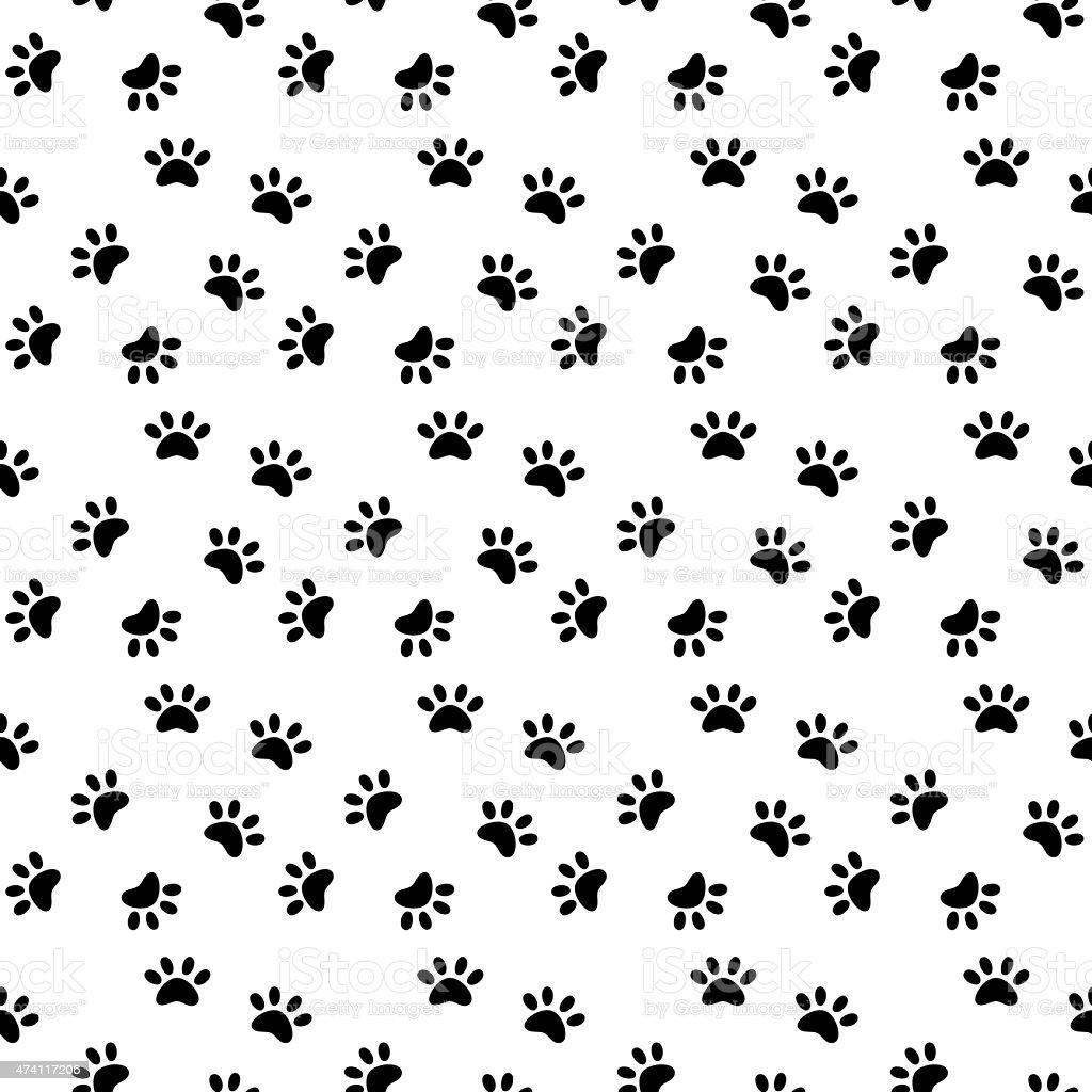 Cat pawprint seamless pattern vector art illustration