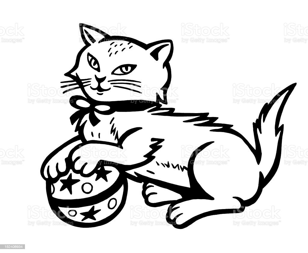 Cat Playing With Ball royalty-free stock vector art