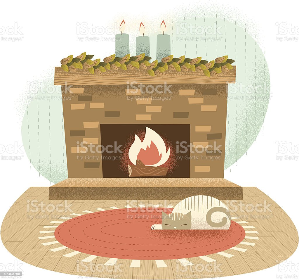 Cat Sleeping by Brick Fireplace royalty-free stock vector art
