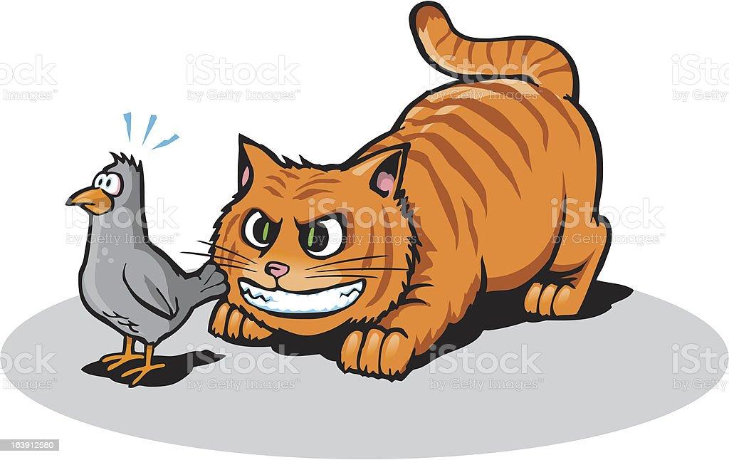 Cat Stalking vector art illustration