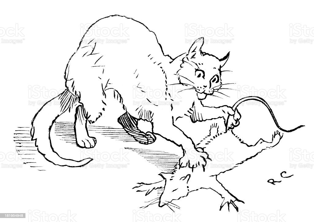 Cat that Killed the Rat vector art illustration