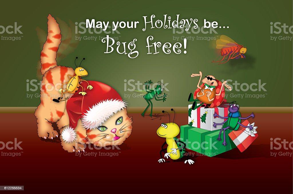 Cat with Santa Claus hat stalks bugs vector art illustration
