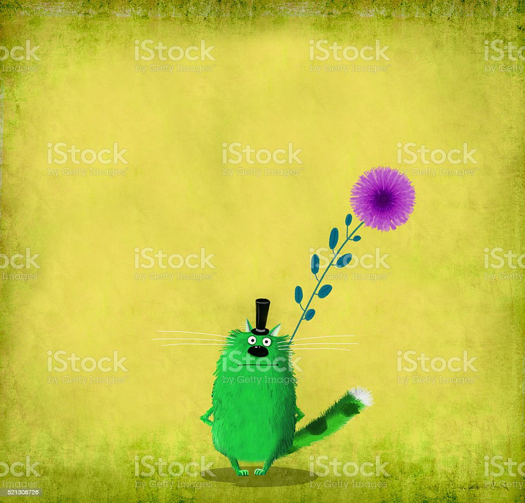 Cat With Top Hat Holding Flower vector art illustration