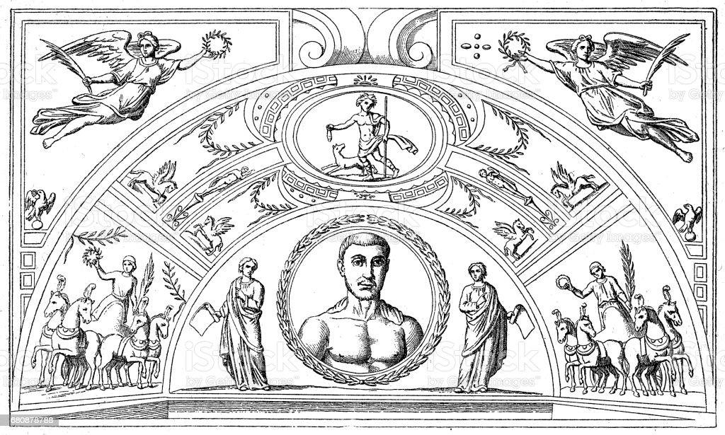 Catacomb of St. Thraso and St. Saturninus vector art illustration