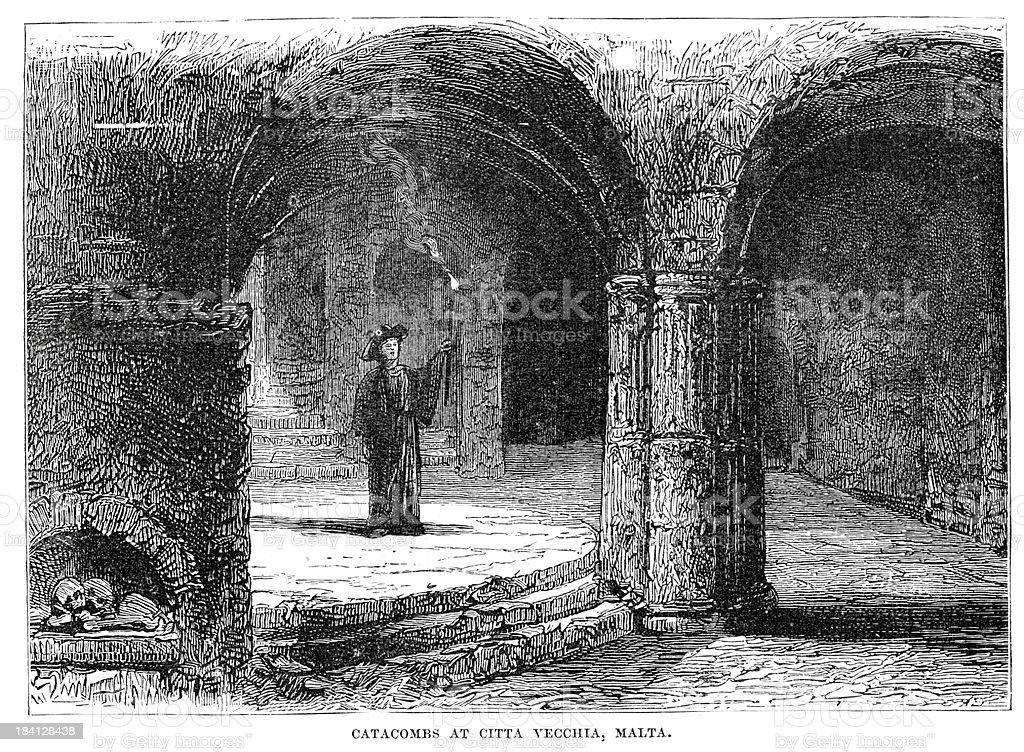 Catacombs at Citta Vecchia Malta vector art illustration
