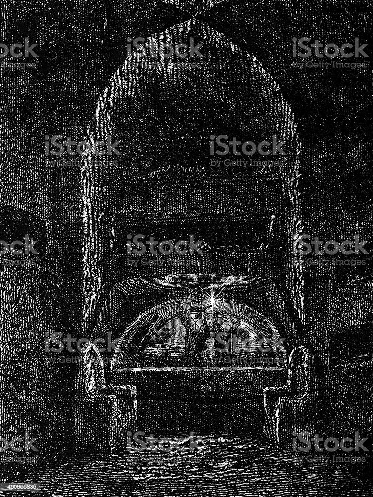 Catacombs decorated altar in Rome royalty-free stock vector art