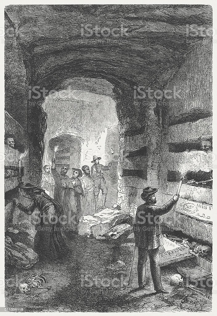 Catacombs in Rome, wood engraving, published in 1864 vector art illustration