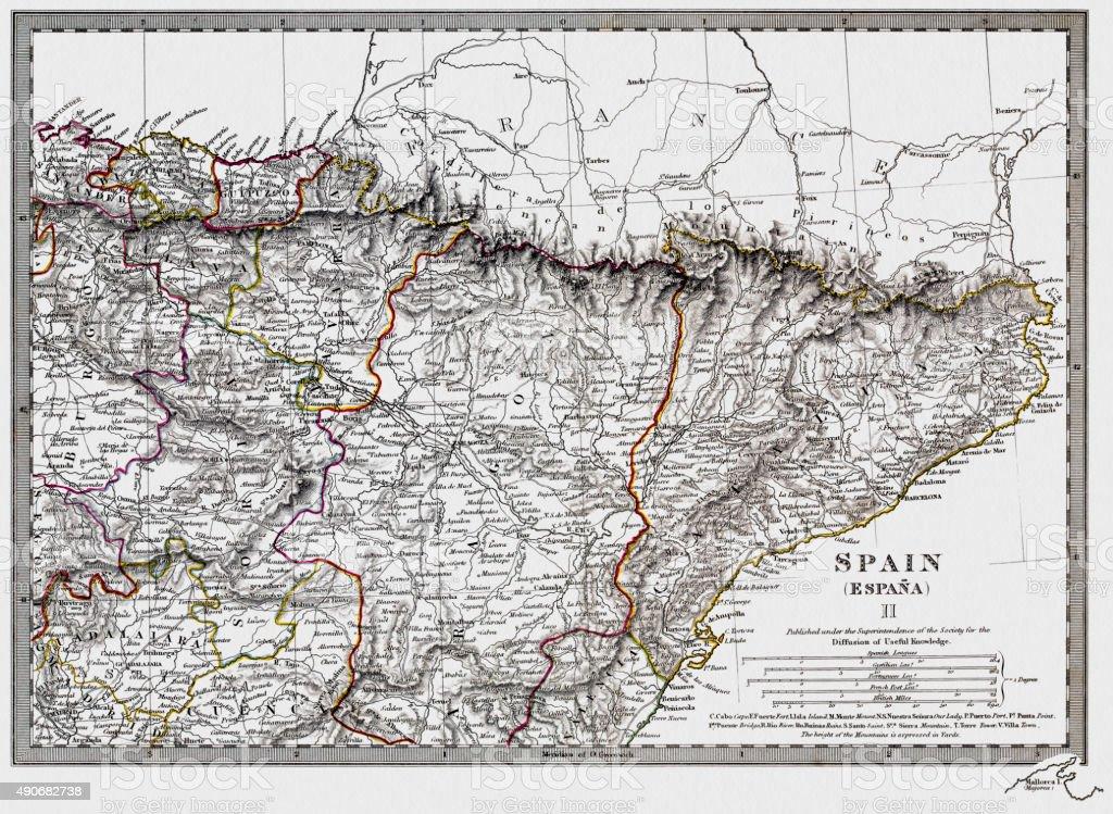 Catalonia and Spain historic 1831 map vector art illustration