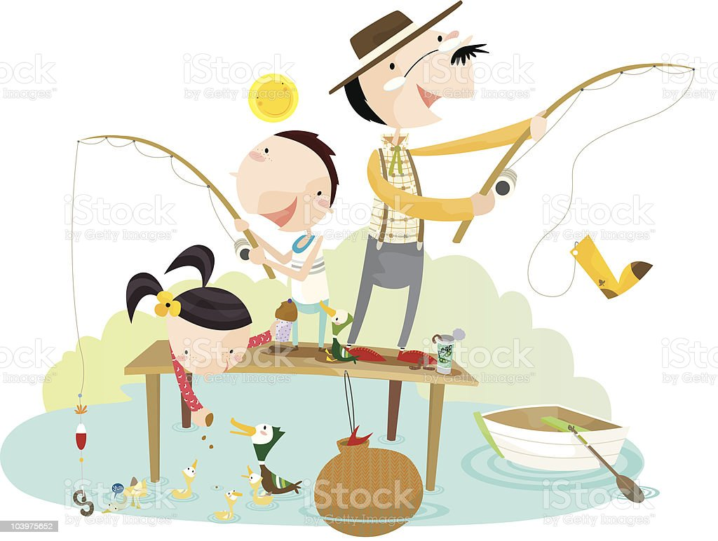 catch of the day- fishing! royalty-free stock vector art