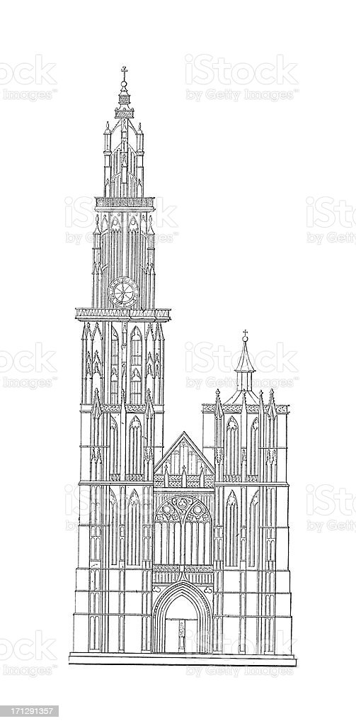 Cathedral of Our Lady, Antwerp, Belgium | Antique Architectural Illustrations royalty-free stock vector art