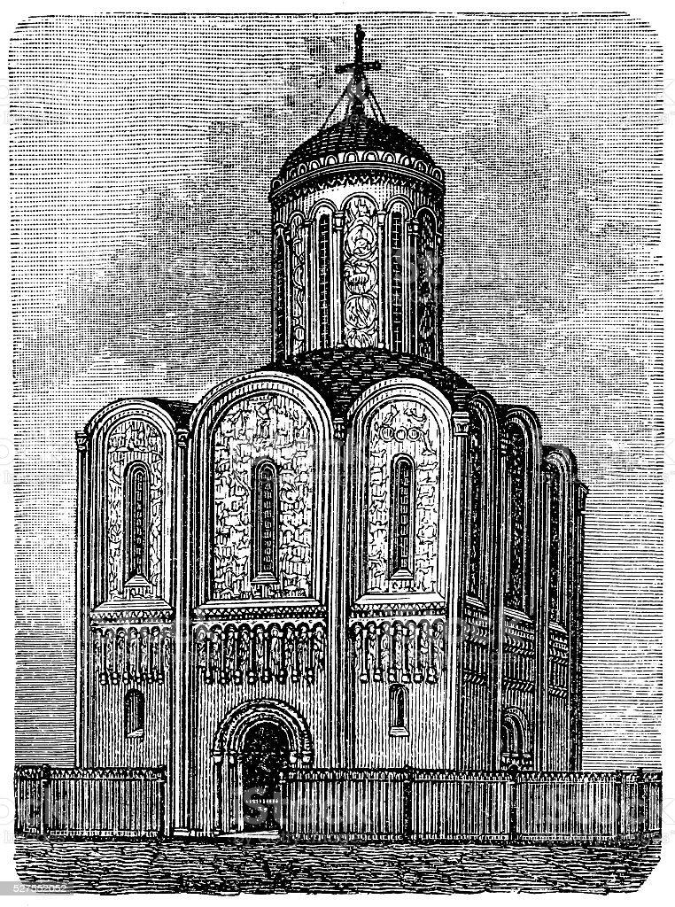 Cathedral of Saint Demetrius (XII c.) in Vladimir, Russi vector art illustration