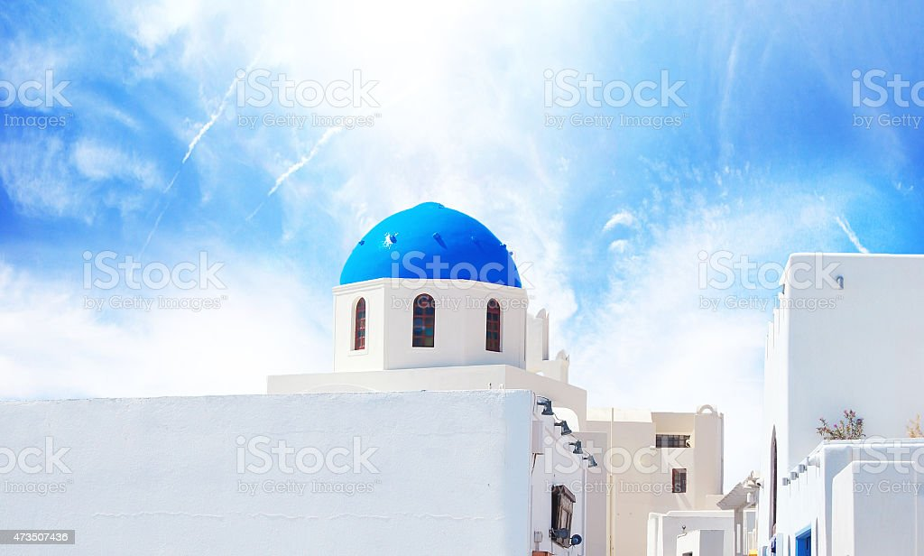 Catholic Santorini church vector art illustration