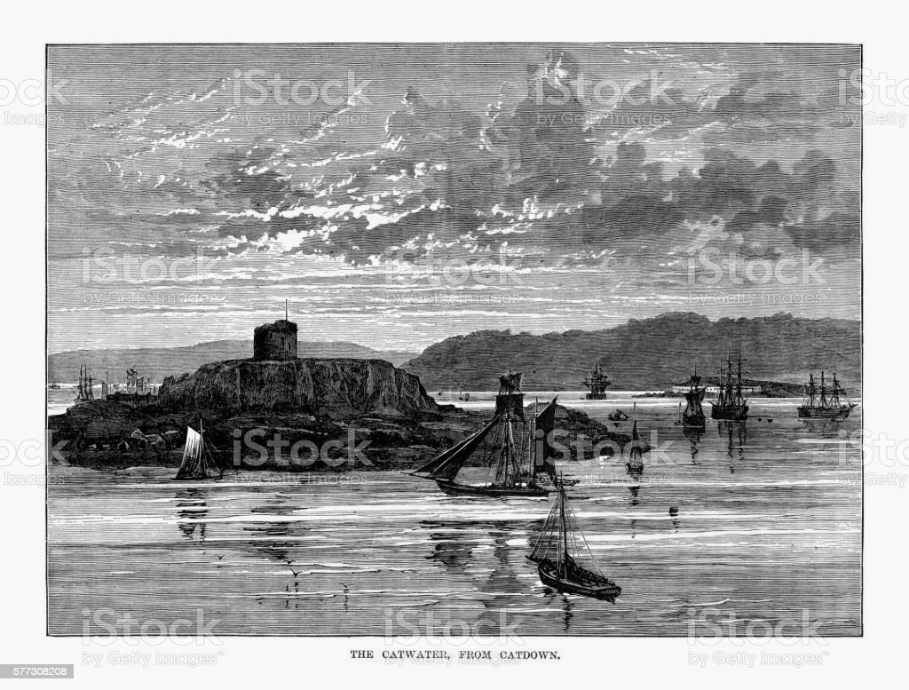 Catwater From Catdown Rivers Victorian Engraving vector art illustration