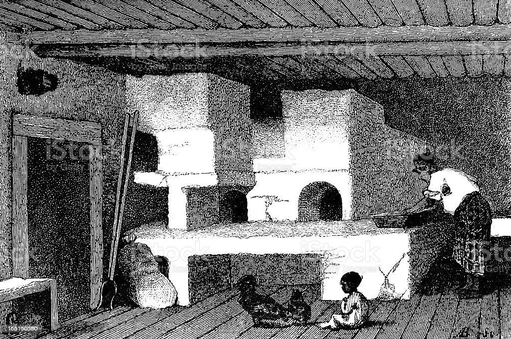 Caucasian house indoor vector art illustration